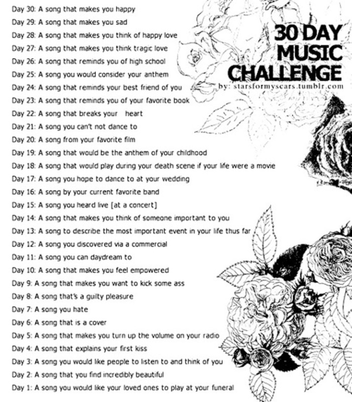 30 Day Blog Challenge Tumblr my 30 Day Music Challenge